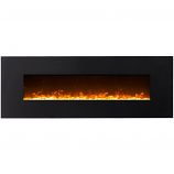 Regal Flame LW5072CE Erie 72in Black Electric Wall Mounted Fireplace - Crystal