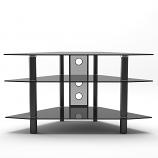 Ryan Rove RR1003 Ruby 44in Corner Glass TV Stand in Black