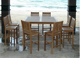 Anderson Teak Set-121 Windsor Avalon 9-Piece Square Bar Set