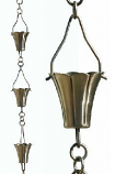 Brushed Stainless Fluted Cup Rain Chain-8.5' Full Length