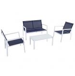 Almo HARP4PC-WN Harper 4-piece Sling Seating Set - White-Navy