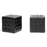 Set of 2 Siskal Black Modern Cube Ottoman