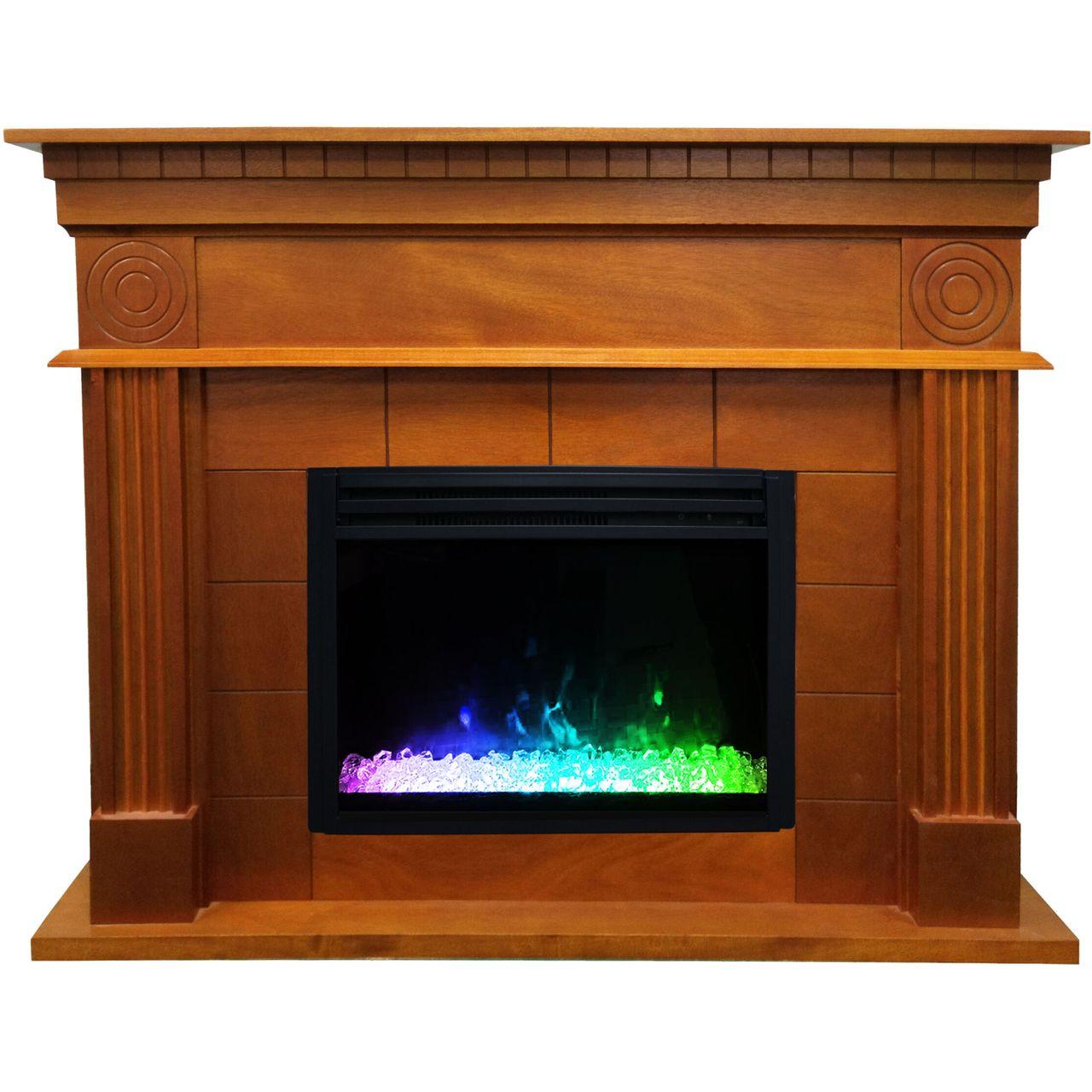 "Cambridge 47.8"" Shelby Electric Fireplace Mantel - Teak"