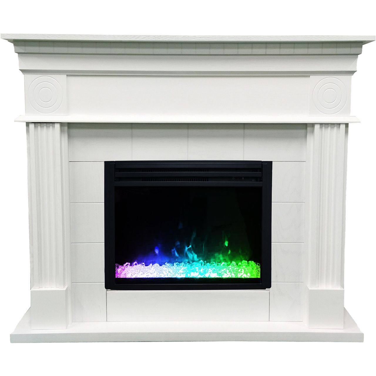 "Cambridge 47.8"" Shelby Electric Fireplace Mantel - White"