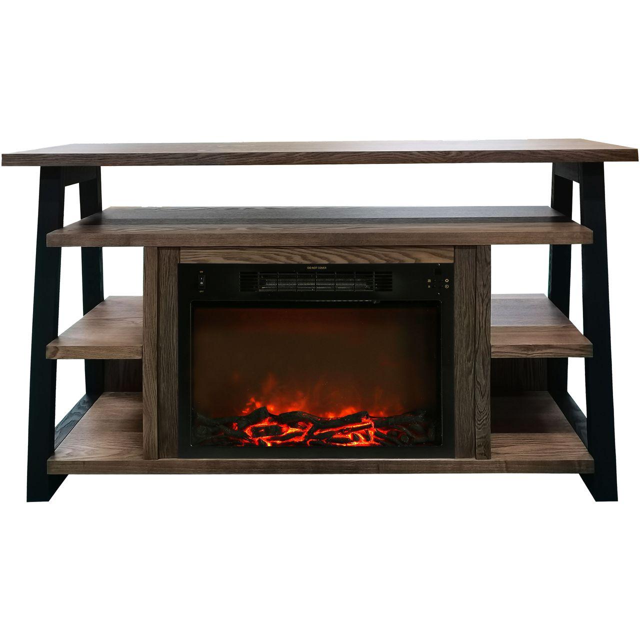 "Cambridge 32"" Sawyer Electric Fireplace Mantel/Logs - Walnut"