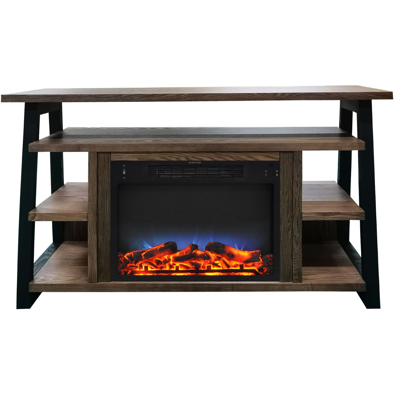 "Cambridge 32"" Sawyer Electric Fireplace Mantel/Logs/LED Flame - Walnut"