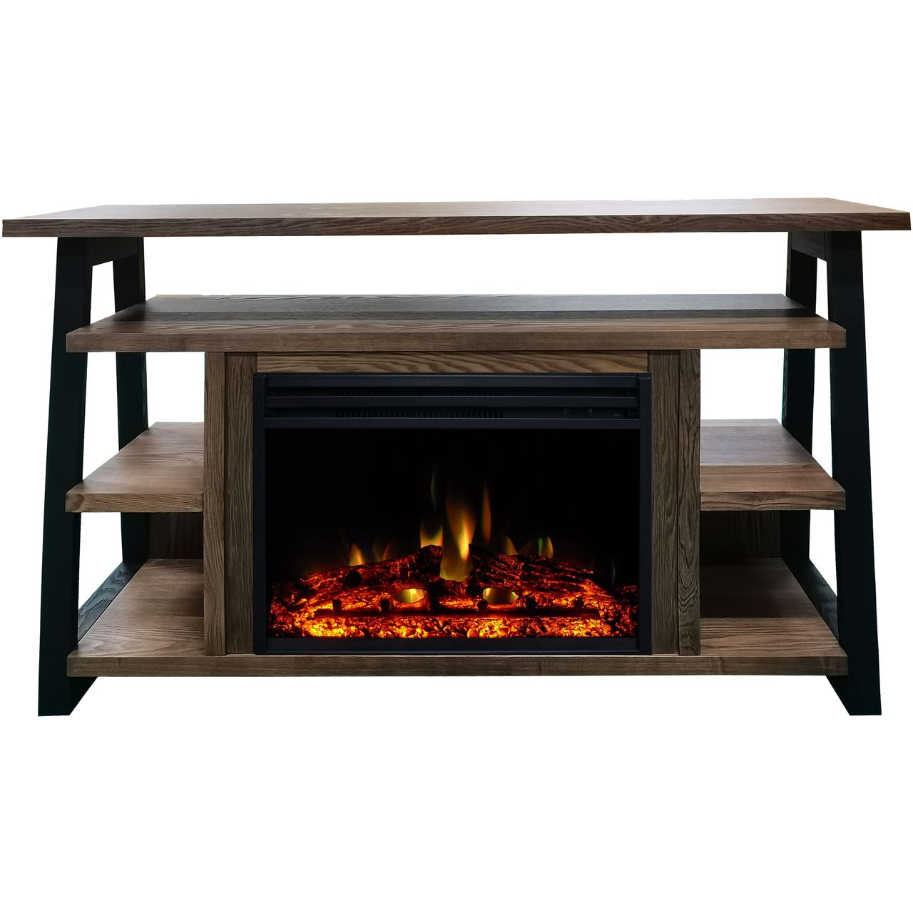 "Cambridge 32"" Sawyer Electric Fireplace Mantel/Enhanced Log - Walnut"