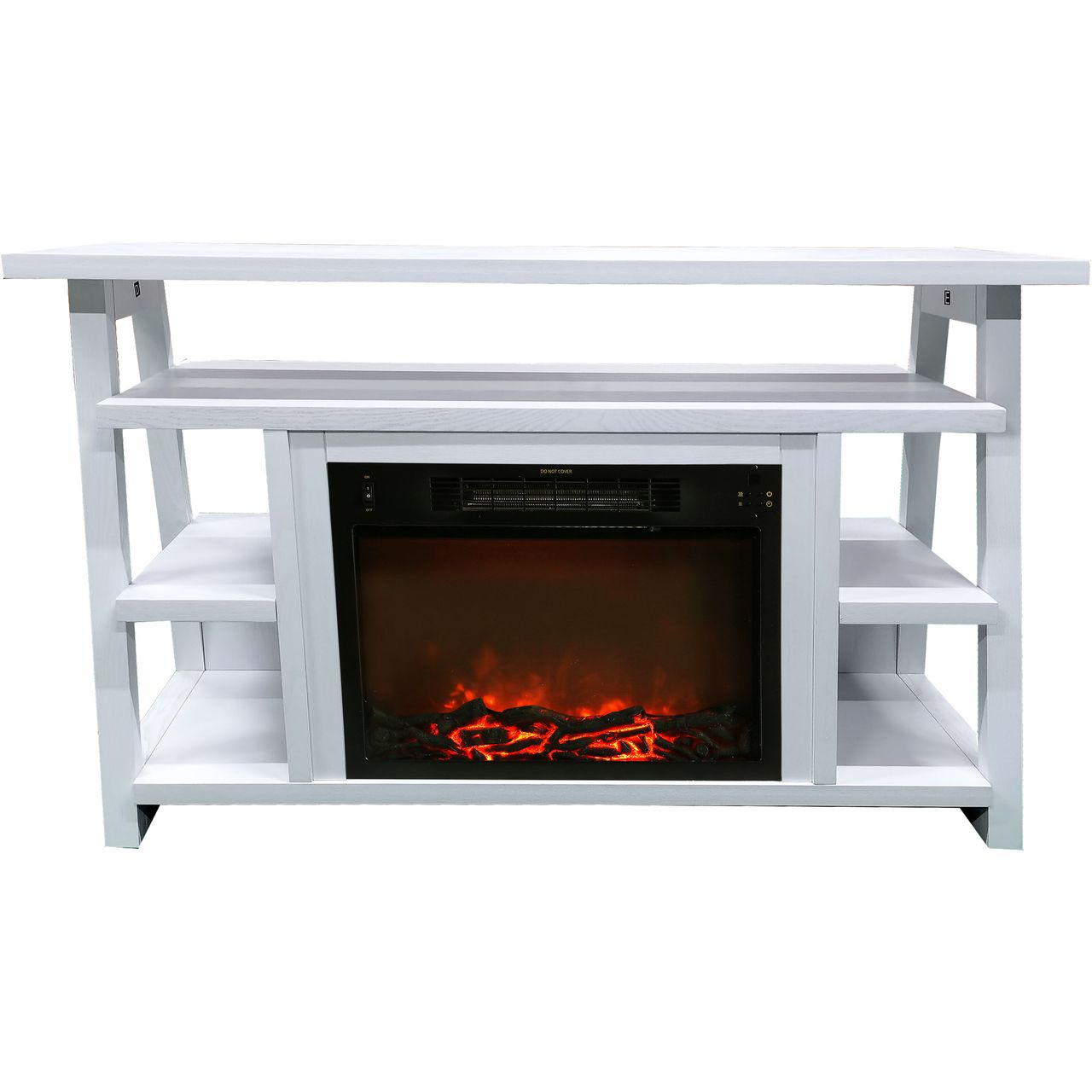 "Cambridge 32"" Sawyer Electric Fireplace Mantel/Logs - White"