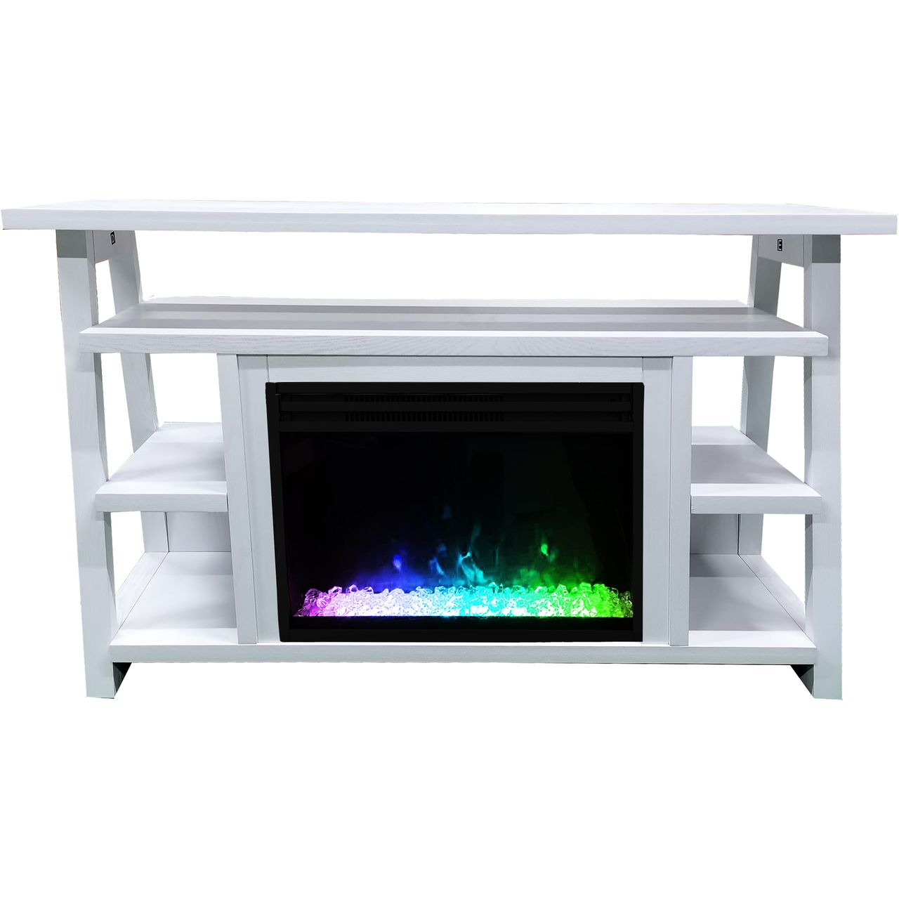 "Cambridge 32"" Sawyer Electric Fireplace Mantel/Crystals - White"
