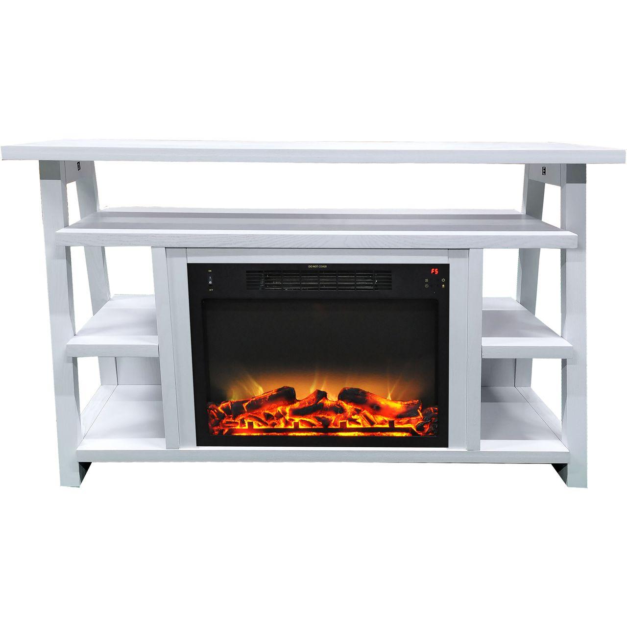"Cambridge 32"" Sawyer Electric Fireplace Mantel/Logs/Grate - White"