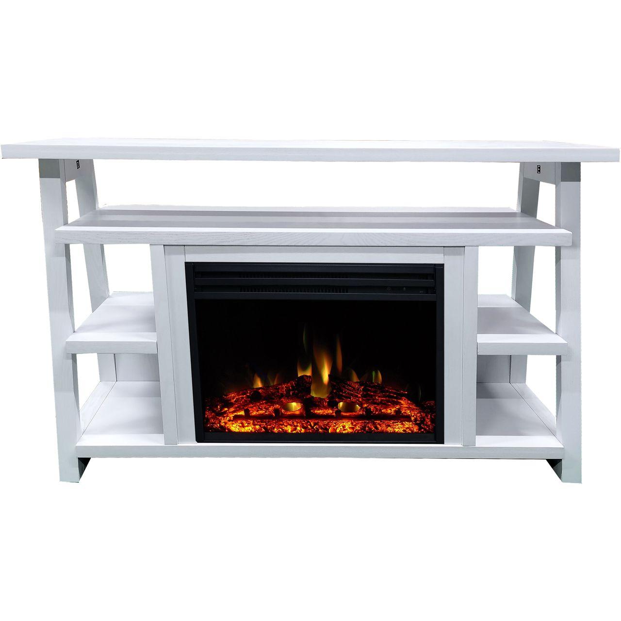 "Cambridge 32"" Sawyer Electric Fireplace Mantel/Enhanced Log - White"