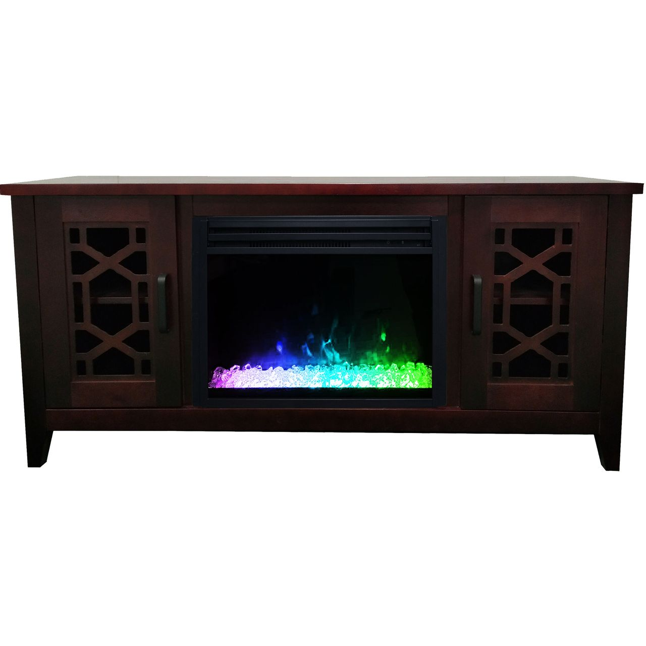 "Cambridge 56"" Stardust Electric Fireplace with Crystals - Mahogany"