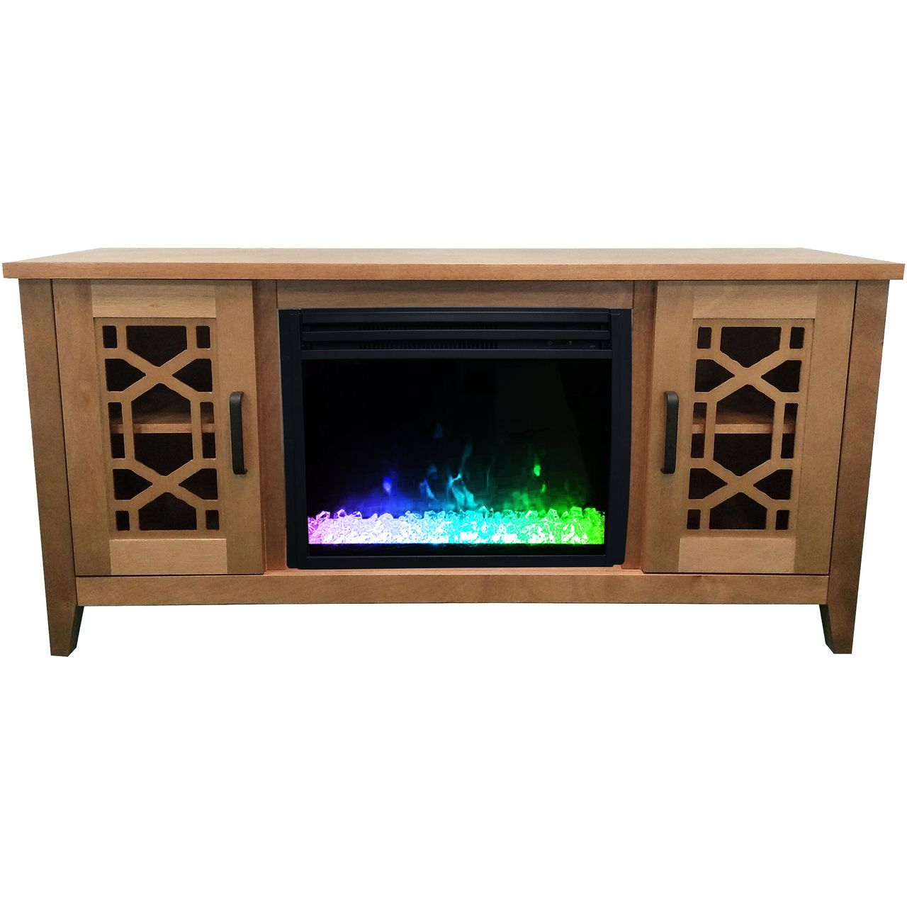 "Cambridge 56"" Stardust Electric Fireplace with Crystals - Natural Wood"