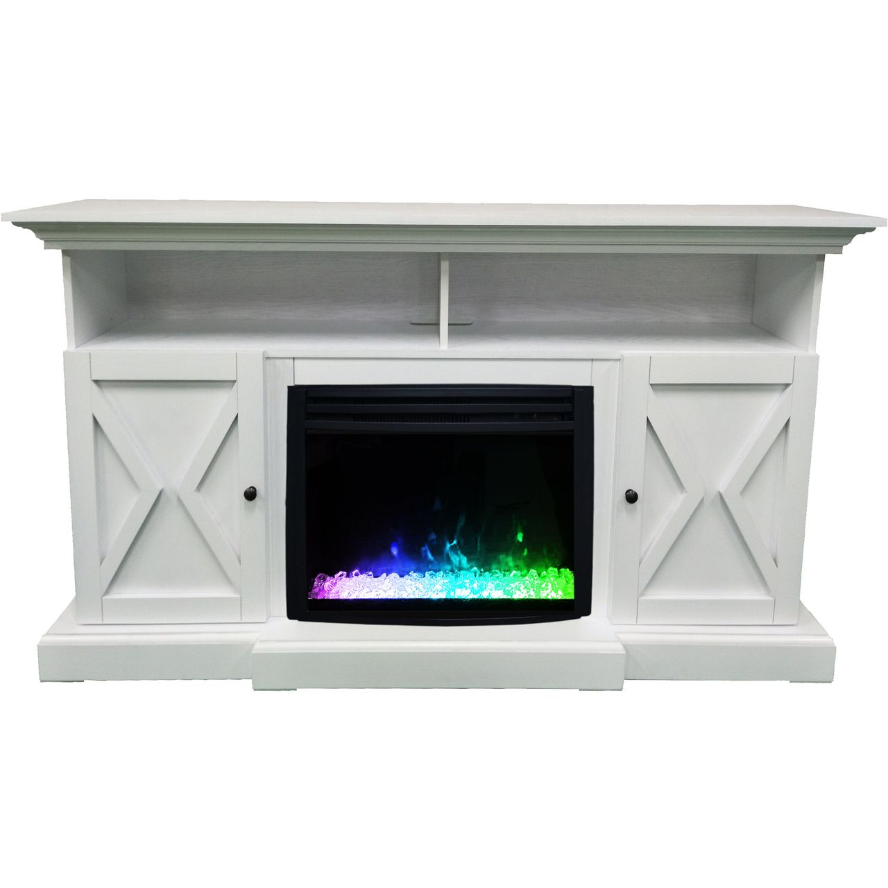 "Cambridge 62"" Summit Electric Fireplace Mantel - White"