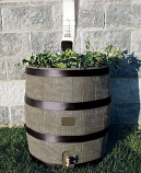 RTS Round Rain Barrel w/ Planter - Deco