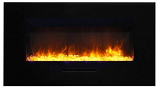 "34"" Flush Mount Fireplace with Black Glass Surround and Log Set"