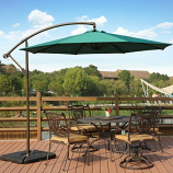 Cantilever Hanging Patio Umbrella with Cross Base & Crank, Dark Green