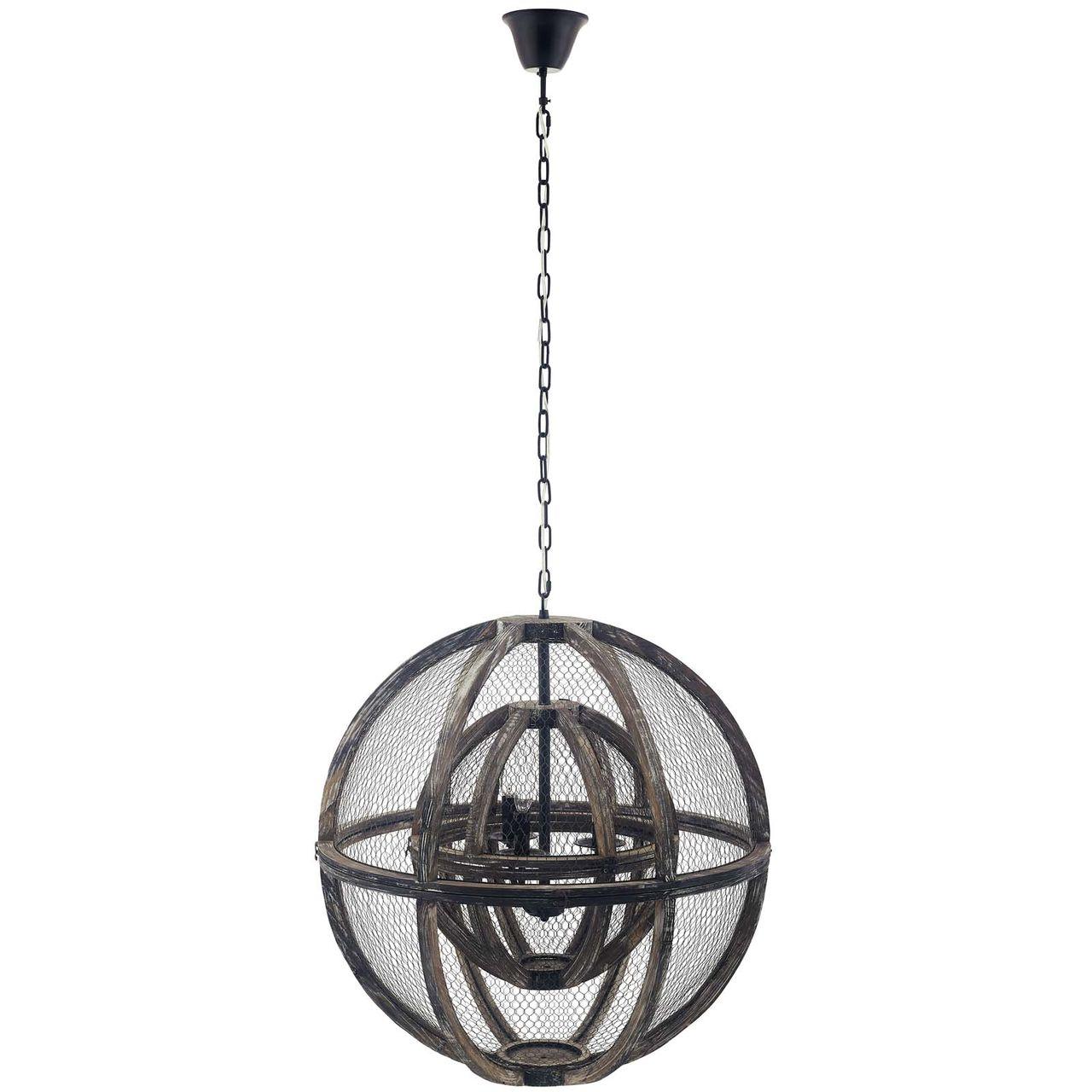 Modway Gravitate Globe Rustic Oak Wood Pendant Light Chandelier