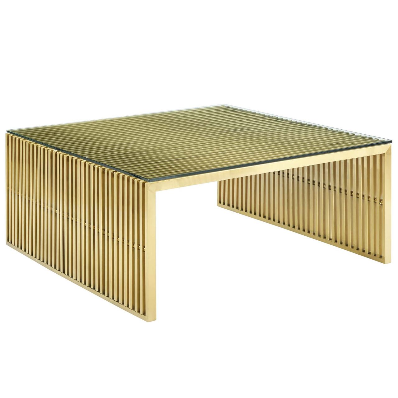 Modway Gridiron Stainless Steel Coffee Table - Gold