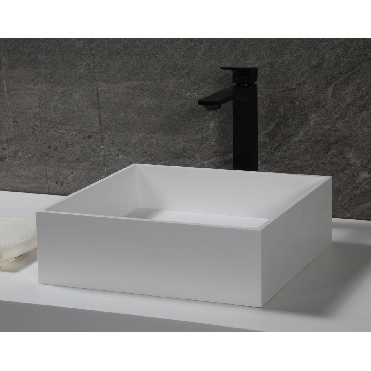 """ALFI 14"""" Square White Matte Solid Surface Resin Sink"""