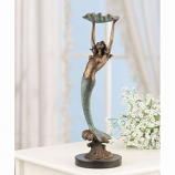 Brass Mermaid with Shell Jewelry and Accessory Tray