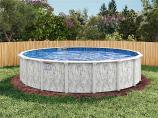 "18' Stoneleigh Round Above Ground Pool, Mardi Gras Liner & 52"" Wall"
