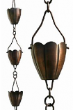 Antique Copper Flower Cup Rain Chain-8.5' Full Length