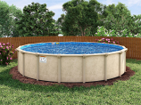 """27' Sunnylea Round Above Ground Pool with Mardi Gras Liner & 52"""" Wall"""