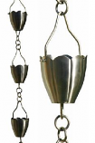 Brushed Stainless Flower Cup Rain Chain-8.5' Full Length