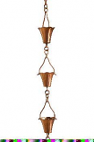 Copper Fluted Cup Rain Chain -4.25
