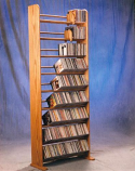 Solid Oak 9 Row Dowel CD Rack
