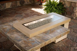 Outdoor GreatRoom Brown Uptown Linear Gas Fire Pit Table