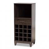 Baxton Studio Trenton Dark Brown 1-Drawer Wine Storage Cabinet