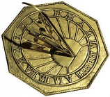 Rome Classic Octagonal Sundial - Solid Polished Brass