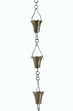 Brushed Stainless Fluted Cup Rain Chain -4.25