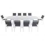"11-Piece Dining Set with 10 Sling Chairs and 40"" x 118"" Dining Table"
