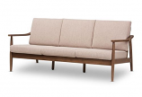 Modern Walnut Wood Light Brown Fabric Upholstered 3-Seater Sofa