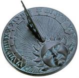 Rome Daybreak Sundial - Cast Iron with Verdigris
