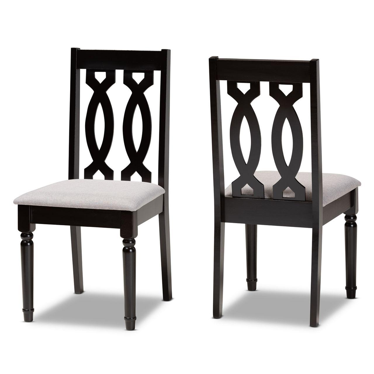 Baxton Studio Cherese Wood 2-Piece Dining Chair Set - Dark Brown
