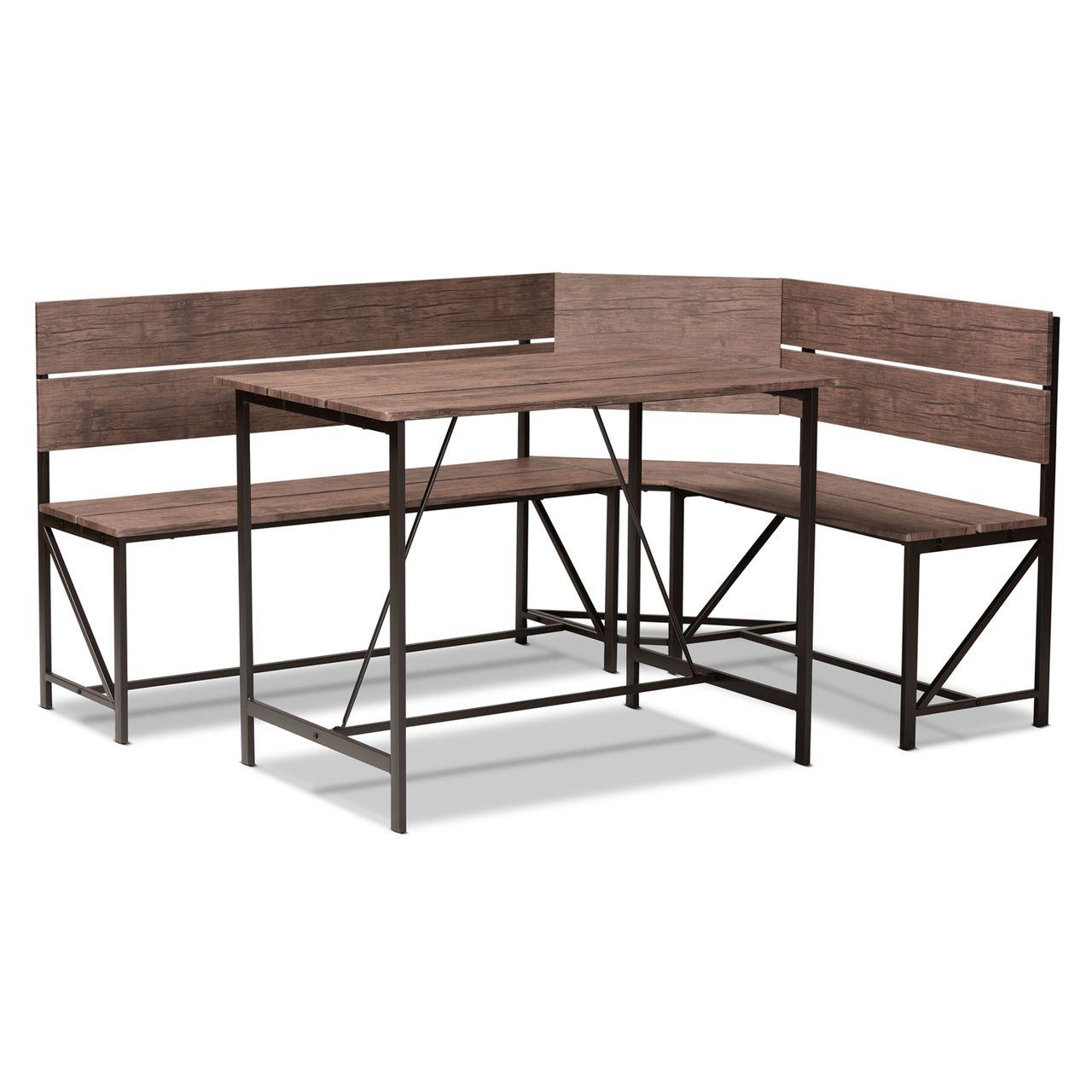 Baxton Studio Marston Metal 2-Piece Dining Nook Set - Brown Wood/Black