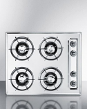 "Summit 24"" Gas Cooktop with Four Burners & Battery Ignition - Chrome"