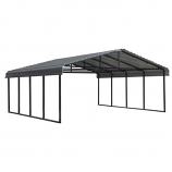 Arrow Galvanized Steel Carport in Charcoal - 20' x 20' x 7'