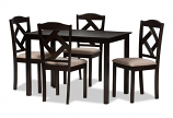 Beige Fabric Upholstered and Dark Brown Finished 5-Piece Dining Set