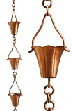Copper Fluted Cup Rain Chain -8.5' Full Length