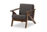 """Grey Fabric and """"Walnut"""" Brown Wood Living Room 1-Seater Lounge Chair"""