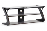 Sculpten Dark Brown and Black Modern TV Stand with Glass Shelves