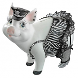 "7""H Porker On Patrol Pig Statue By Design Toscano"