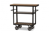 Black Textured Finished Metal Distressed Wood Mobile Serving Cart