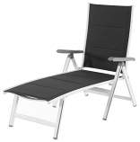 Everson Padded Sling Folding Chaise Lounge in Gray-White