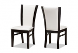 Dark Brown Finished White Faux Leather Dining Chair -Set of 2